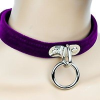 Purple Velvet Choker Sexy O Ring Fetish Collar