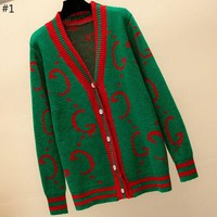 GUCCI 2018 autumn and winter women's knit cardigan loose sweater