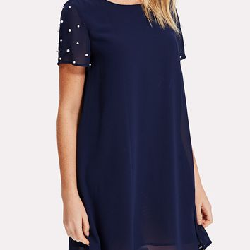 Pearl Beaded Sleeve Tunic Dress