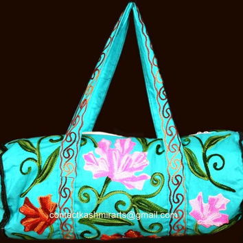 Duffle Bag/Blue/Floral Embroidered Purse/Hand Bag/Cotton Bling Diaper/Ethnic Party bag/Market Handbag/Maple leaf bag/Overnight Bag/Blue bag