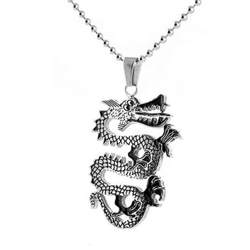 Dragon Design Pendant Stainless Steel Necklace