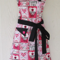 Valentine's Apron, Pink and Black, Valentines Cards, Hearts, Cupid, Flowers, KitschNStyle