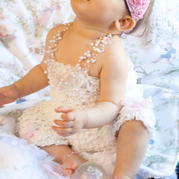 Ruffle Romper with Glitter Bows too Adorable