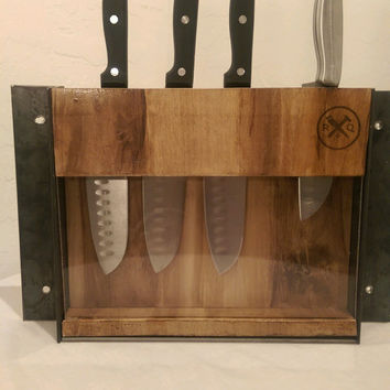 Industrial style wood and steel wall mounted knife block
