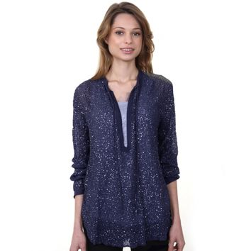Charlie Joe Lovelace Sequin Silk Top Cornflower