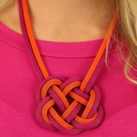 In Knots Necklace in Pink