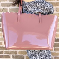 Kate Spade Lily Avenue Patent Carrigan Scallop Large Tote Pink Mutmeg Patent