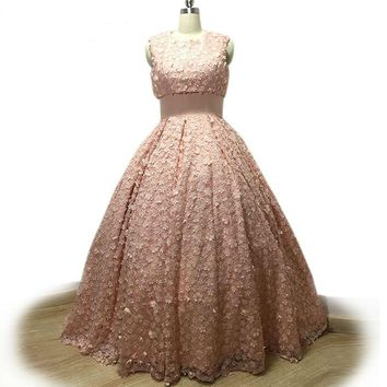 Two-piece Style Evening Dresses Pink 3D Appliques Prom Dresses Long Ball Gown Party Dresses