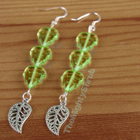 Sterling Silver Leaf Drop Earrings, perfect for a Poison Ivy outfit