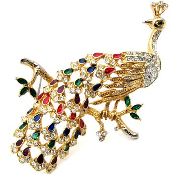 Vintage Enamel Peacock Brooch Pin with Rhinestones