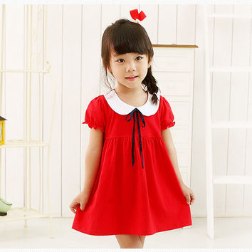 Cool Summer Dolls Short Sleeve Children Princess Dress One Piece Dress [4920519940]
