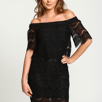 BLACK OFF SHOULDER EYELASH LACE DRESS