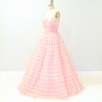 Vintage 1950s Prom Dress, 50s Formal Bridal Dress, Pink Strapless Wedding Party Dress, Organza & Lace Tiered Gown, XXS