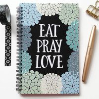 Writing journal, spiral notebook, sketchbook, diary, bullet journal, black blue floral, blank lined or grid paper - Eat Pray Love