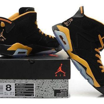 PEAPON3A VAWA Mens Air Jordan 6 Retro High 384664-071 Basketball Shoes Black Yellow