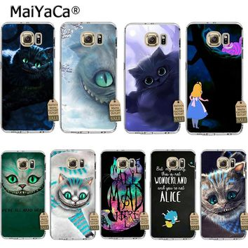 MaiYaCa Alice in Wonderland Cheshire Cat Coque Shell Phone Case  for Samsung S5 S6 S7 Edge S8 Plus S6 Edge Plus S3 S4