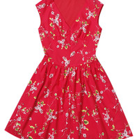 Red Floral Print V-Neck Sleeveless Skater Mini Dress