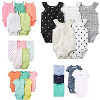 5 Pieces/Lot Baby Bodysuits Sling Sleeveless Short Sleeved Cotton Baby Jumpsuit Baby Clothes Dot Print  Baby Girls Bodysuits V49
