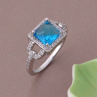 AMAZING 2.80CTW AQUA PRINCESS 925 STERLING SILVER ENGAGEMENT AND WEDDING RING