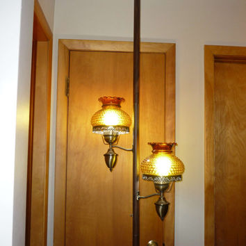 Mid Century Tension Pole Lamp Amber Hobnail Glass Shades