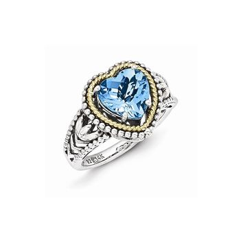 Sterling Silver with 14k Antiqued Blue Topaz Heart Ring