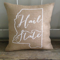 "Burlap Pillow,"" Hail State"" , Mississippi State, Christmas Gift, Custom Made to Order"