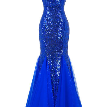 Bling Sequins Long Evening Dresses  Mermaid Prom Dress Puffy Bottom Blue Purple Evening Gowns Cheap Formal Dresses 7556