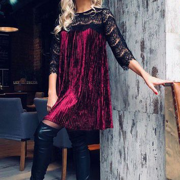 DCCK8H2 Sexy Long-Sleeved Lace Dress