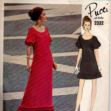 Vogue Couturier Design Sewing Pattern 70s Pucci Cocktail Dress Evening Gown A-line Box Pleats Blouson Sleeves High Fashion Bust 32