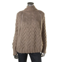 Free People Womens Wool Cable Knit Cape Sweater