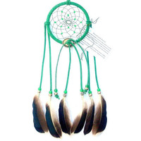 Emerald Green Dream Catcher, Teal Green Drake Feathers