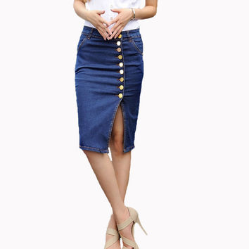 Women Fashion Denim Jeans Pencil Skirts Single Breasted Knee Length Skirt Plus Size