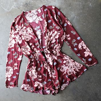 girl crush long sleeve floral romper with ruffle hem - burgundy