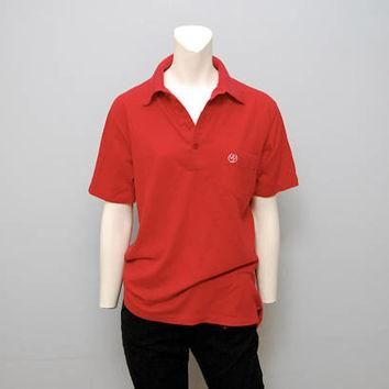 Vintage Red and White Polo Golf Shirt with Phoenix Logo on Pocket - Men's Size Large