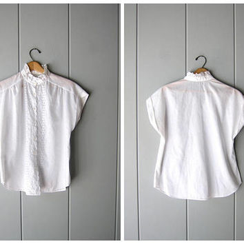 Natural White Cotton Blouse 80s Preppy Minimal Button Up Blouse Cap Sleeves 70s Modern Eyelet Basic Casual Top Vintage Womens Medium Large