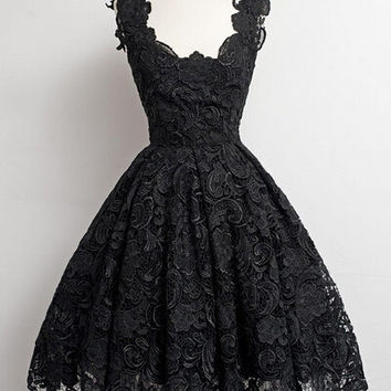 Vintage Little Black Lace Homecoming Dress