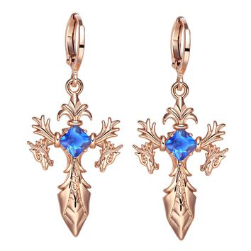 Magical Dragon Sword Style Viking Cross Protection Amulets Gold-Tone Royal Blue Crystals Earrings