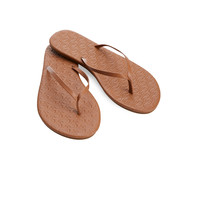 Leather Embossed Whale Flip Flops