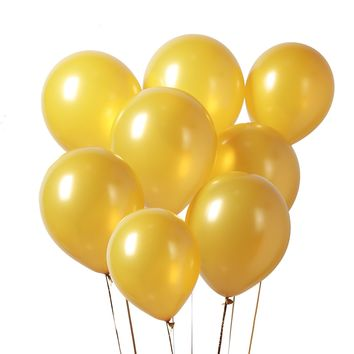 PuTwo Balloons 12 Inch 100 Pcs Gold Balloons Pearlised Balloons Latex Balloons Helium Balloons birthday Balloons Party Supplies for Wedding Birthday Christmas Baby Shower - Gold, with FREE Ribbon