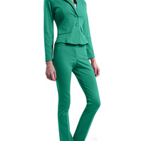 LE3NO Womens Fitted Blazer and Pants Suit Set with Back Pleat (CLEARANCE)