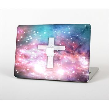 The Vector White Cross v2 over Colorful Neon Space Nebula Skin Set for the Apple MacBook Pro 13""