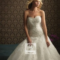 Ball Gown Sweetheart Pleating Organza Chapel Train Wedding Dress at Dresseshop