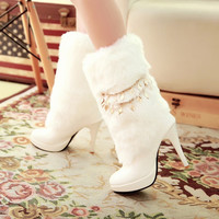 On Sale Hot Deal Waterproof High Heel Shoes Boots [9432963594]