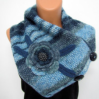 Neck Warmer,Boutique scarf Neck Warmer Marbled Blue Hand knit - Bulky Scarf Wool - Chunky Infinity Scarf- Neck Warmer