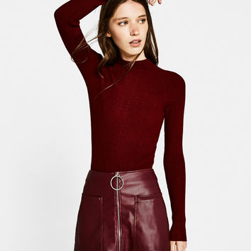 Faux leather skort - Skirts - Bershka United Kingdom