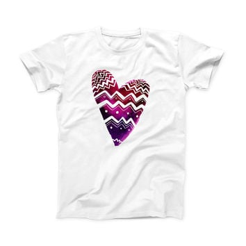 The Vivid Colorful Chevron Water Heart ink-Fuzed Front Spot Graphic Unisex Soft-Fitted Tee Shirt