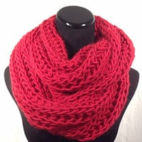 Red Brioche Infinity Knit Scarf