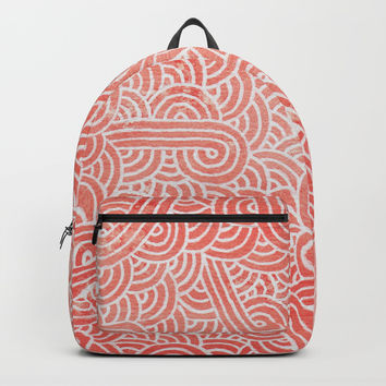 Peach echo and white swirls doodles Backpacks by Savousepate