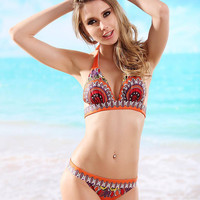 Retro Printed Halter Bikini Set