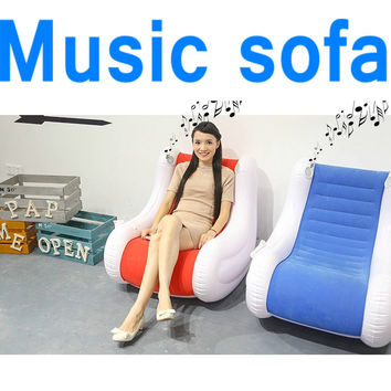 Sounding inflatable bean bag chair,air beanbag sofa , Music foldable living room sofa, air blue and red sofa recliner